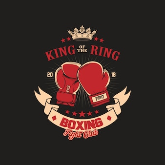 Boxing gloves club badge illustration