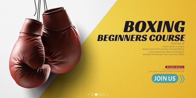 Боксерские перчатки, висящие в воздухе на желтом знамени, 3d иллюстрации