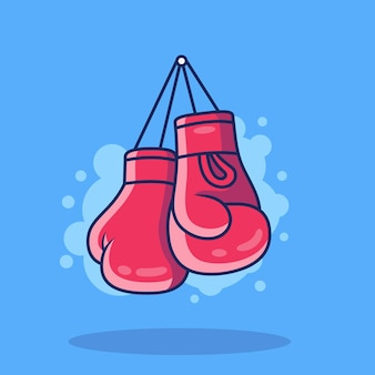 ボクシンググローブのアイコンの図。青い背景で隔離のスポーツボクシングアイコンの概念