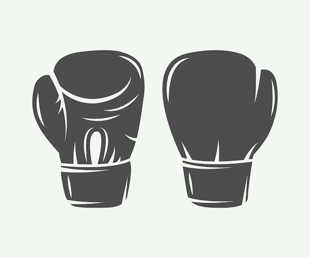 Боксерские перчатки в винтажном стиле. векторная иллюстрация