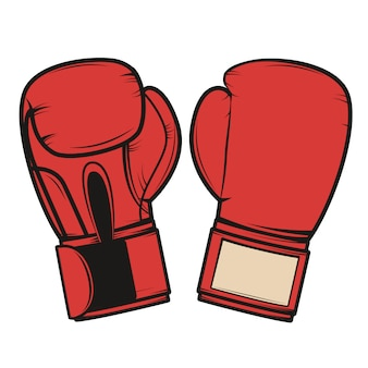 白い背景の上のボクシンググローブ。ロゴ、ラベル、エンブレム、記号、バッジの要素。図