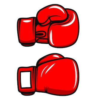 Боксерские перчатки на белом фоне. элемент для плаката, эмблемы, этикетки, значка. иллюстрация