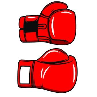 白い背景の上のボクシンググローブ。ポスター、エンブレム、ラベル、バッジの要素。図