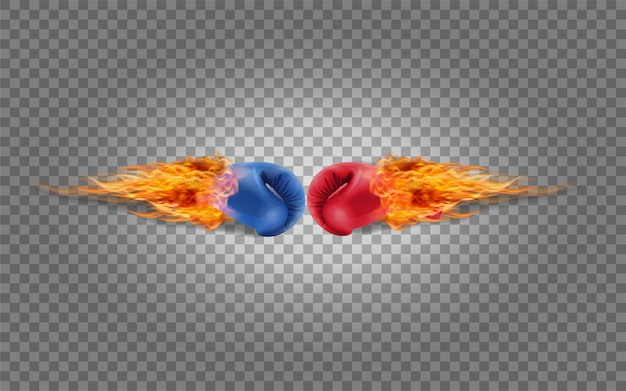 Boxing gloves red and blue in fire hitting together