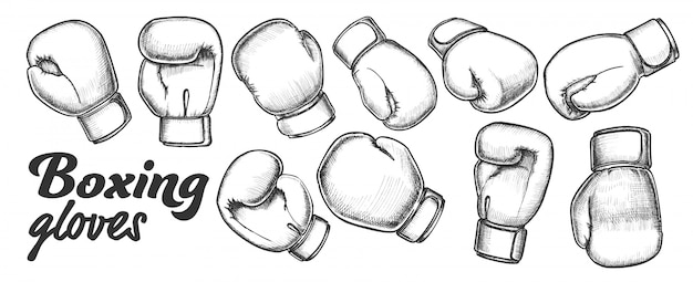 Boxing gloves for sport competition set