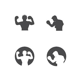 Бокс значок набор и боксер дизайн иллюстрации символ истребителя