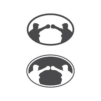 ボクシングアイコンセットと戦闘機のボクサーデザインイラストシンボル