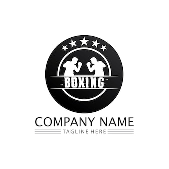 Boxing icon set and boxer design illustration symbol of fighter