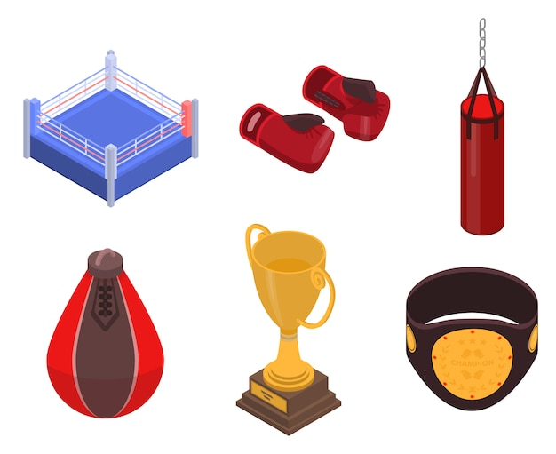 Boxing icons set, isometric style