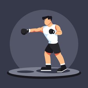 Боксерский нокаут-удар персонаж иллюстрации