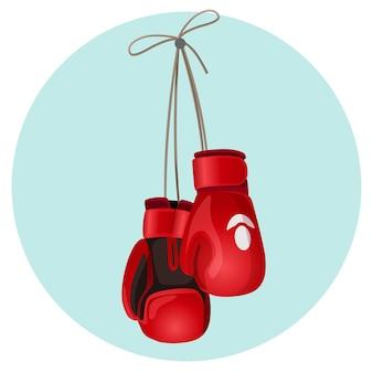 Боксерские кожаные перчатки красного и черного цвета, висит на синем круге фона векторные иллюстрации. защитные варежки на руках во время боя