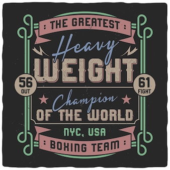 Boxing lettering vintage style