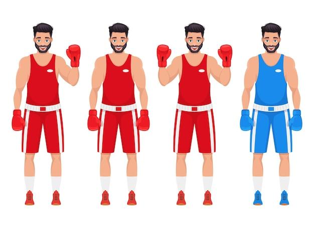 Бокс человек дизайн иллюстрация, изолированные на белом фоне