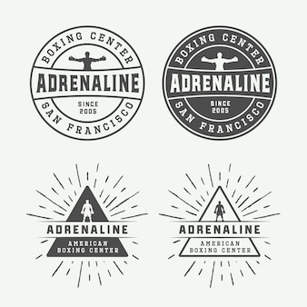 Boxing and martial arts logo badges and labels in vintage style