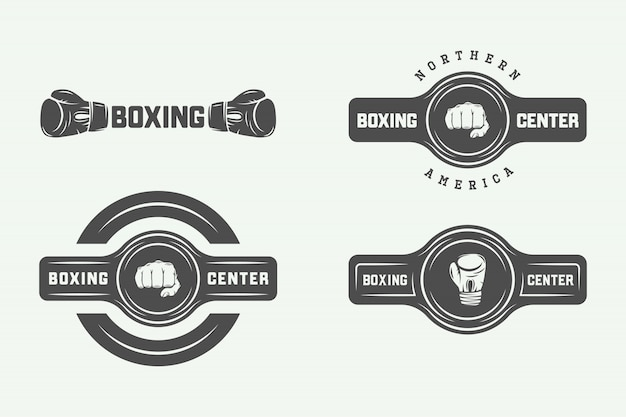 Boxing and martial arts logo badges