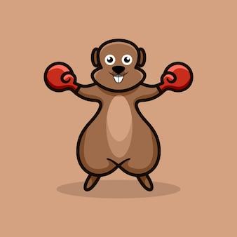 ボクシングのマスコットのロゴのデザインのベクトル図