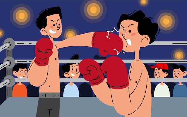Boxing match flat vector illustration