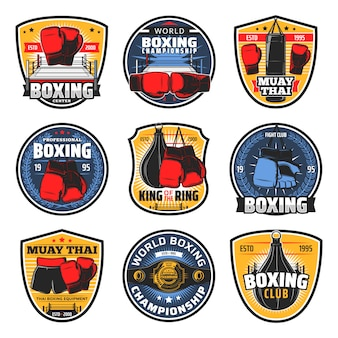 Boxing muay thai icons, kickboxing fighter arts