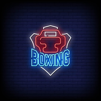 Boxing neon signboard on brick wall
