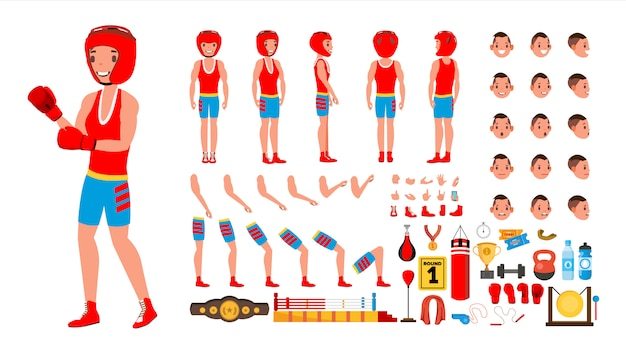 Boxing player set