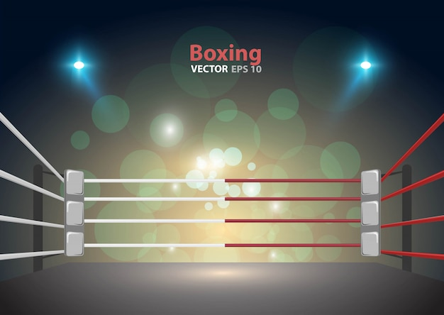 Boxing ring arena and floodlights vector design bright stadium arena lights red blue.