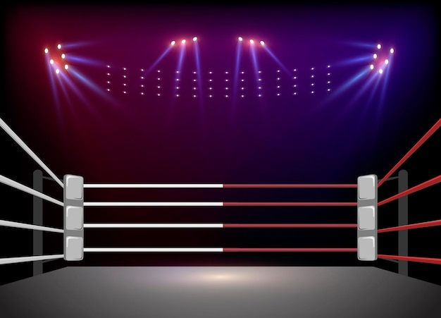 Boxing ring arena and floodlights