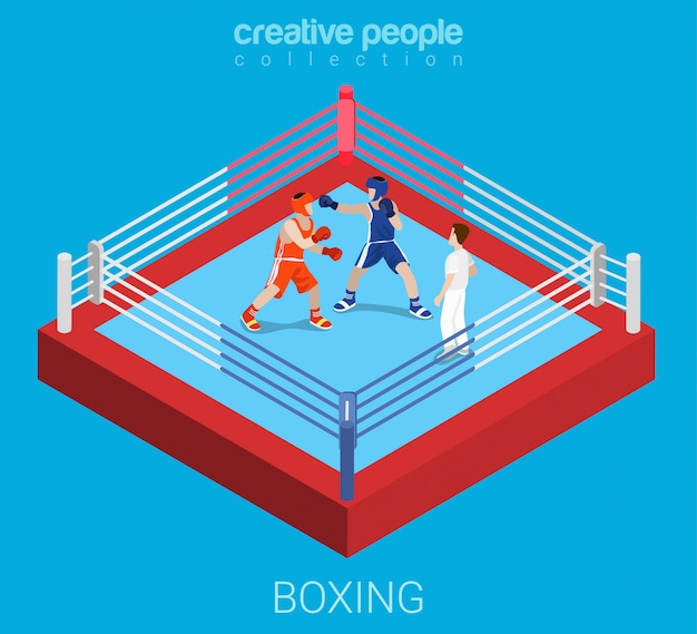 Boxing ring championship competition fight flat isometric illustration.