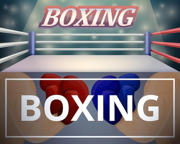 Boxing ring illustration set on cartoon style