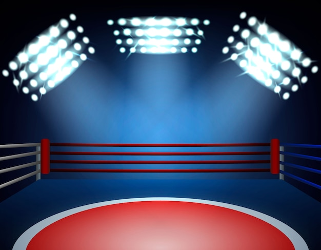 Boxing ring spotlights composition