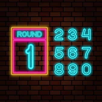 Boxing round with numbers neon sign