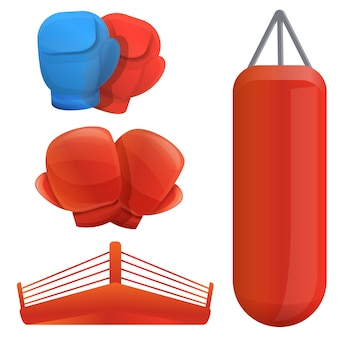 Boxing set, cartoon style