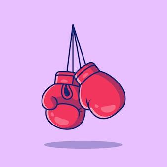 ボクシングスポーツアイコンイラスト。スポーツボクシングアイコンのコンセプトが分離されました。フラット漫画スタイル