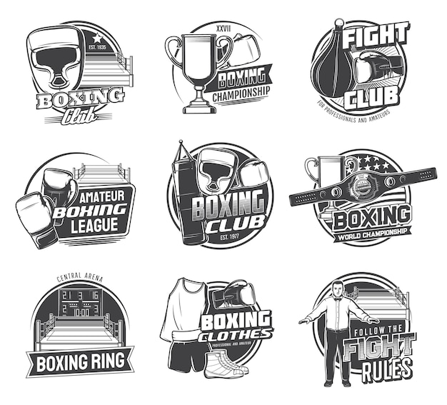 Boxing sport icons of box punching bags, boxer gloves and helmets