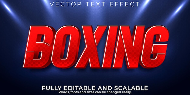 Boxing sport text effect editable red and power text style