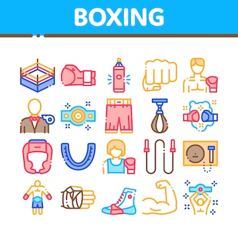 Boxing sport tool collection icons set