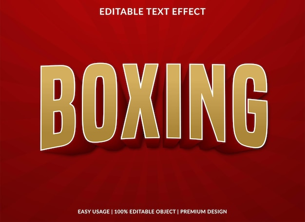 Boxing text effect editable template premium style