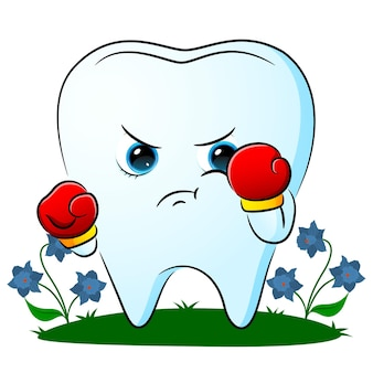 The boxing tooth is using the boxing gloves in the garden of illustration