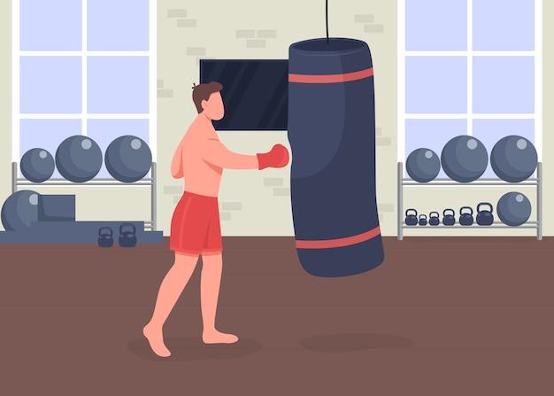 권투 훈련 평면 컬러 일러스트입니다. 샌드백과 스포츠맨. 운동 선수. 아령 체육관. 배경에 클럽 룸이있는 프로 복서 2d 만화 캐릭터