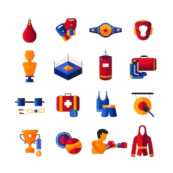 Boxing training gear punch bags equipment and sportswear accessories colorful flat icons set abstract isolated vector illustration