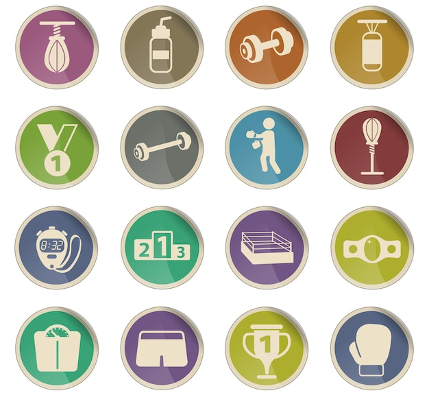 Boxing vector icons in the form of round paper labels