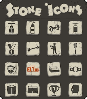 Boxing vector icons on stone blocks in the stone age style
