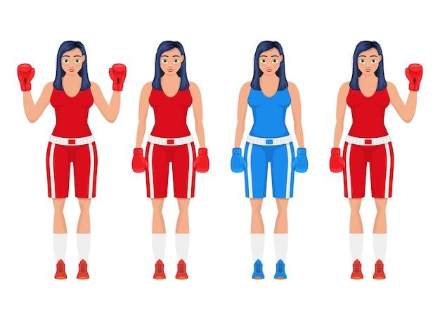Бокс женщина дизайн иллюстрация, изолированные на белом фоне