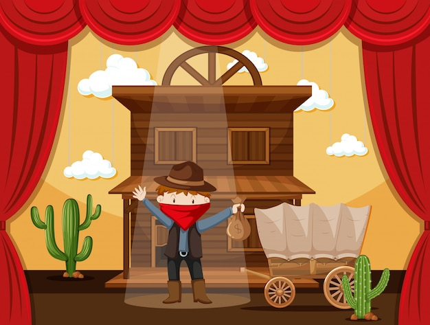 Boy acting on stage with cowboy scene