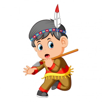A boy american indian holding spear