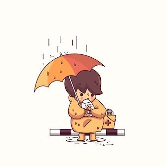 Мальчик и собака в дождь персонаж векторная иллюстрация