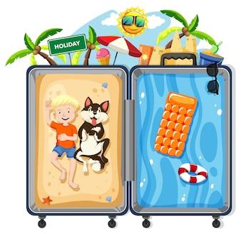 Мальчик и собака на летних каникулах