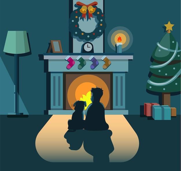 Мальчик и собака сидят у камина дома в концепции рождественской ночи в мультфильме