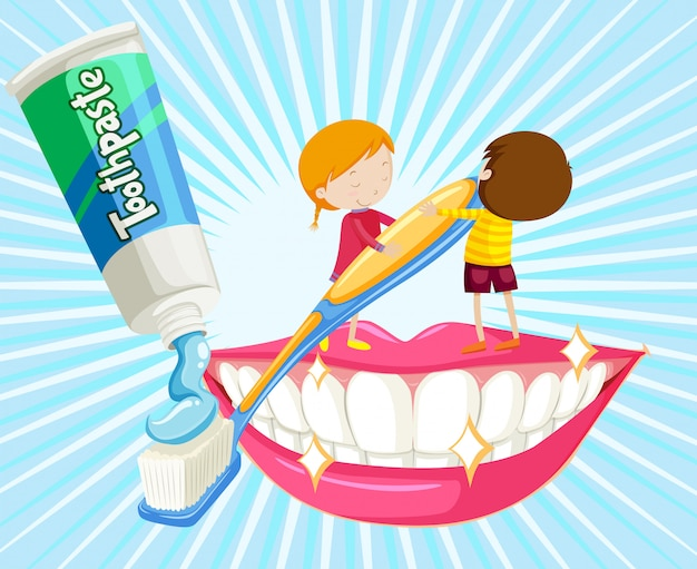 Мальчик и девочка чистят зубы
