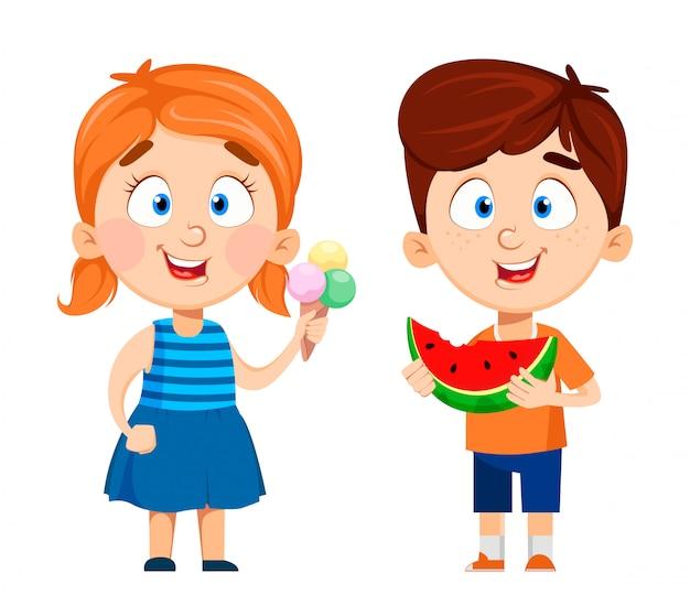 男の子と女の子の漫画のキャラクター、2つのポーズのセット