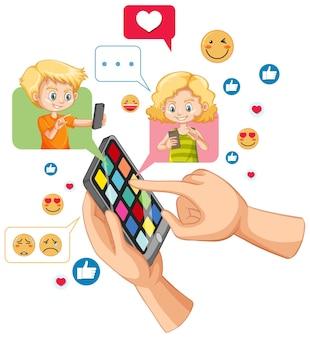 白い背景で隔離のソーシャルメディアアイコンをテーマにしたスマートフォンで男の子と女の子のチャット